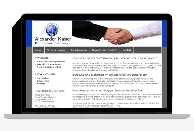 Homepage Design für Versicherung