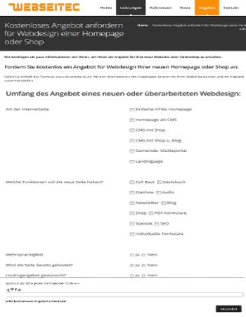 Anfrageformular für Webdesign Angebot